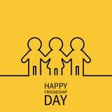 De gelukkige Dag van de Vriendschap Twee zwart man mannetje en één het tekensymbool van het vrouwen vrouwelijk silhouet Jongensme Stock Afbeelding