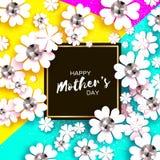 De gelukkige Dag van Moeders Witte Bloemengroetkaart met Briljante stenen De Dag van vrouwen met Document snijbloem Bloemenvakant Royalty-vrije Stock Afbeelding