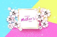 De gelukkige Dag van Moeders Witte Bloemengroetkaart met Briljante stenen De Dag van vrouwen met Document snijbloem Bloemenvakant Royalty-vrije Stock Foto's