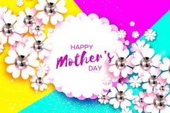 De gelukkige Dag van Moeders Witte Bloemengroetkaart met Briljante stenen De Dag van vrouwen met Document snijbloem Bloemenvakant Royalty-vrije Stock Foto