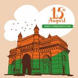 De gelukkige Dag van de Onafhankelijkheid Gateway van India bij de illustratie van Mumbai India vector illustratie