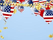 De gelukkige Dag van de Onafhankelijkheid van de V.S. met tekst op retro achtergrond De V.S. stock illustratie