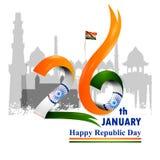 De gelukkige Dag van de Republiek van tricolorachtergrond van India voor 26 Januari royalty-vrije illustratie