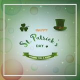 De gelukkige Dag van StPatrick ` s, vaag bokeh met sterlicht op kleurrijke achtergrond Royalty-vrije Stock Afbeelding