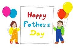 De gelukkige Dag van Vaders Kleine kinderen met banner Stock Afbeelding