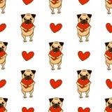 De gelukkige Dag van de Valentijnskaart `s Mooi pug en hart Leuk naadloos patroon met puppy vector illustratie
