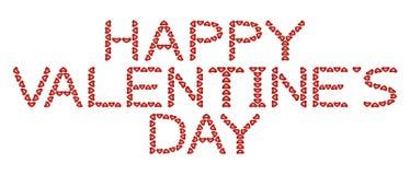 De gelukkige Dag van Valentijnskaarten die van harten wordt gemaakt Stock Afbeelding