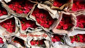 De gelukkige Dag van Valentine ` s van een Bloemmarkt Stock Afbeeldingen