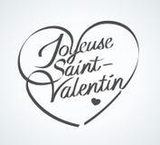 De gelukkige Dag van Valentine ` s in het Frans: Joyeuse st-Valentin stock illustratie