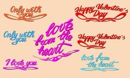 De gelukkige Dag van Valentine s lettering Populaire uitdrukkingen Vector Royalty-vrije Stock Afbeeldingen