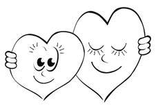 De gelukkige Dag van Valentine ` s, twee harten in liefde, prentbriefkaar royalty-vrije illustratie