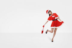 De gelukkige dans van de Kerstmisdame Royalty-vrije Stock Afbeelding