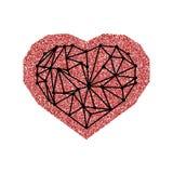 De gelukkige de Dagkaart van Valentine ` s met rood schittert effect hart en zwart geometrisch hart Geïsoleerdj op witte achtergr Stock Afbeeldingen