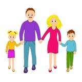 De gelukkige de de de familievader, moeder, zoon en dochter gaan samen Stock Foto