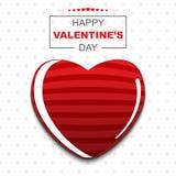 De gelukkige decoratie van de valentijnskaart` s dag met rood hart op rode puntachtergrond Stock Afbeelding