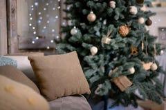 De gelukkige Decoratie van het Nieuwjaar De vrolijke Decoratie van Kerstmis Stock Foto