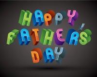 De gelukkige die Father's-kaart van de Daggroet met uitdrukking met 3d retr wordt gemaakt Stock Afbeelding