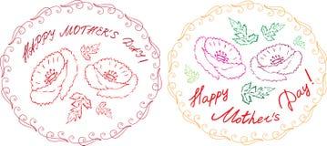 De gelukkige die kaarten van de moeder` s dag met het handdrawn bloemenelementen en handlettering worden geplaatst Royalty-vrije Stock Fotografie