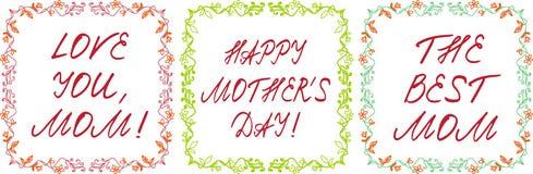 De gelukkige die kaarten van de moeder` s dag met het handdrawn bloemengrens en handlettering worden geplaatst Royalty-vrije Stock Afbeelding
