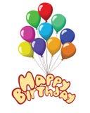 De gelukkige die linten van de verjaardagstekst baloons op witte achtergrond worden geïsoleerd Royalty-vrije Stock Afbeeldingen