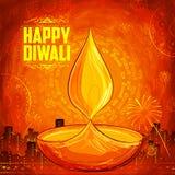 De Gelukkige Diwali achtergrond van Shubhdeepawali met waterverfdiya voor licht festival van India Stock Fotografie