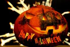 De gelukkige donkere achtergrond van Halloween met vonken Stock Afbeeldingen