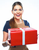 De gelukkige doos van de vrouwen huidige gift Royalty-vrije Stock Foto's