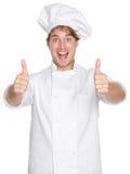 De gelukkige duimen van de chef-kok omhoog Royalty-vrije Stock Fotografie