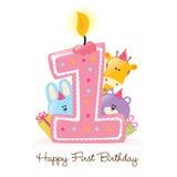 De gelukkige Eerste Geïsoleerdea Kaars en de Dieren van de Verjaardag stock afbeelding