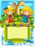 De groep gelukkige peuterjonge geitjes - kleurrijke illustratie voor de kinderen Stock Foto
