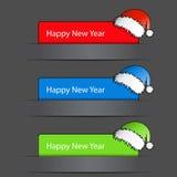 De gelukkige Etiketten van het Nieuwjaar 2012 met santahoed Royalty-vrije Stock Foto