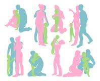 De gelukkige familie detailleerde silhouetten Royalty-vrije Stock Afbeelding