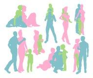De gelukkige familie detailleerde silhouetten Stock Afbeeldingen