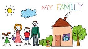 De gelukkige familie met jonge geitjes, huis, kinderen overhandigt tekeningsstijl, krabbel Stock Fotografie