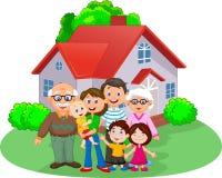 De gelukkige Familie van het Beeldverhaal Stock Foto's