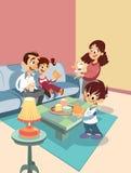 De familie van het beeldverhaal bij de woonkamer Stock Fotografie