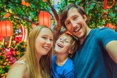 De gelukkige familie viert Chinees Nieuwjaar bekijkt Chinese rode lantaarns stock foto's