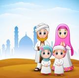 De gelukkige familie viert voor eid Mubarak met moskeeachtergrond vector illustratie