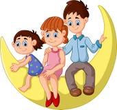 De gelukkige familie zit op de maan royalty-vrije illustratie