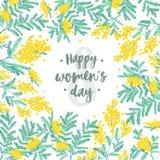 De gelukkige feestelijke die wens van de Vrouwens Dag tegen figuur acht aangaande achtergrond door mooie bloeiende gele mimosa wo royalty-vrije illustratie