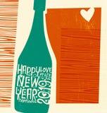 De gelukkige fles van de Nieuwjaar 2019 champagne met het inspireren van met de hand geschreven woorden royalty-vrije illustratie