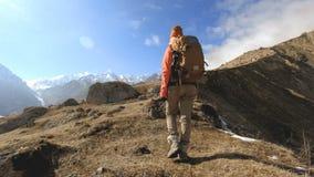 De gelukkige fotograaf van het reizigersmeisje in zonnebril met een camera en een rugzak gaat bergop op een achtergrond van snow- stock videobeelden