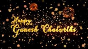 De gelukkige Ganesh Chaturthi Abstract-deeltjes en schitteren de kaarttekst van de vuurwerkgroet stock illustratie