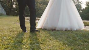 De de gelukkige gangen en liefkozingen van het huwelijkspaar in liefde elkaar stock footage