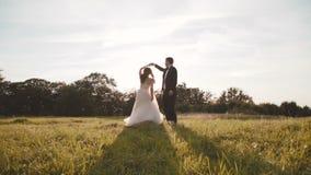 De de gelukkige gangen en roezen van het huwelijkspaar op mooie aard stock video