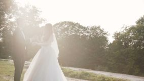 De gelukkige gangen van het huwelijkspaar bij oud kasteel, bruid het wervelen stock videobeelden
