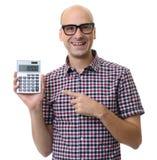 De gelukkige geïsoleerde calculator van de mensenholding Stock Fotografie