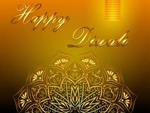 De gelukkige gele vectorachtergrond van Diwali, Hindoes festival van lichten royalty-vrije illustratie