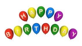De gelukkige geplaatste ballons van de Verjaardag. Geïsoleerdo op het wit Royalty-vrije Stock Afbeeldingen