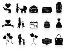 De gelukkige geplaatste pictogrammen van de moedersdag Royalty-vrije Stock Afbeelding
